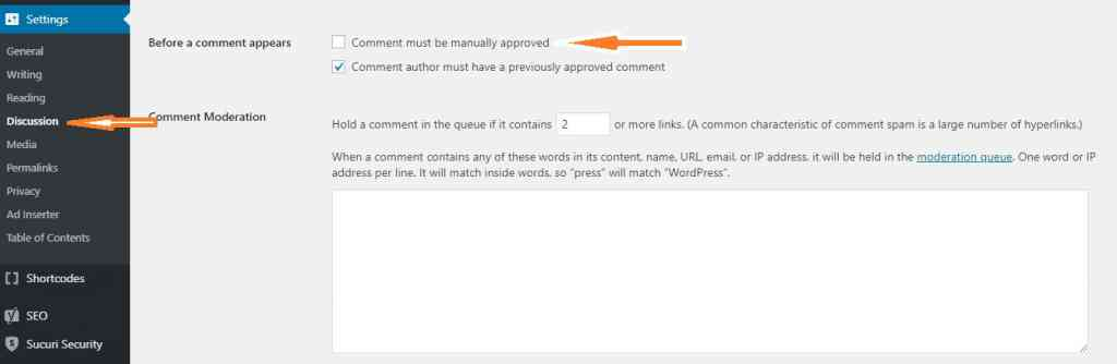 wordpress comments moderation
