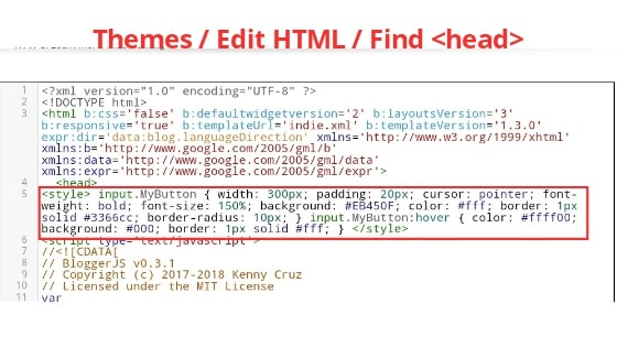 Instructuction edit HTML code by blogsguru