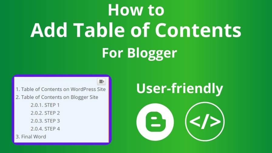table of contents on blogger