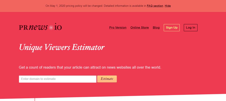 Prnews Visitor estimator
