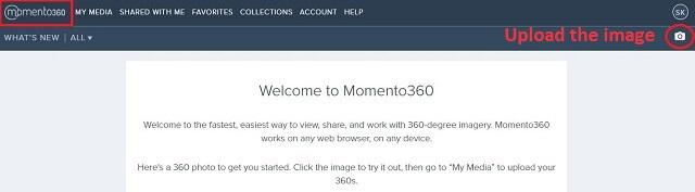 momento360 Upload 360 degree image