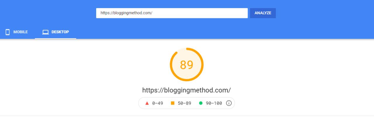 Page Speed on bloggingmethod